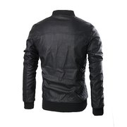 Men's Fashion Washing PU Leather Lined Stand Collar Jacket Coat