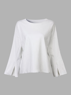 Casual Loose Pure Color O Neck Split Cuff Blouse For Women