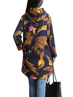Vintage Ethnic Style Leaf Printed Hooded Button Coat For Women