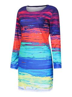 Женщины Повседневная Mix Color с длинным рукавом O-образным вырезом Мини платье