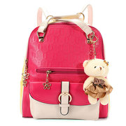 Women Bear Pendant Leather Backpack