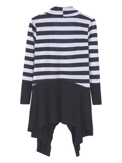Women Casual Stripe Irregular Hem Cardigans