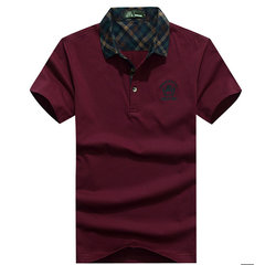 Summer Mens Solid Color Plaid Collar Short Sleeve Cotton Casual Polo Shirts