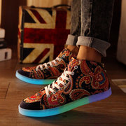 Unisex Light Up Pattern Print Color Match Lace Up Flat Sneakers