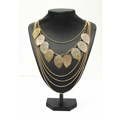 Multilayer Leaf Long Chain Sweater Necklace