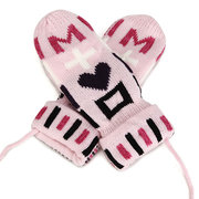 Winter Double Thick Cotten Youth Gloves Cute Chrismas Tree With Rope Mittens