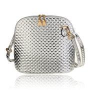 Women Leather Perlage Pattern Satchel Ceossbody Bag