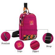 Women Print Floral Nylon Waterproof Bag Casual Crossbody Bag Chest Pack