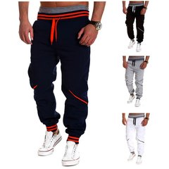 Men's Spring Fall Casual Bottoms Gym Pants Stitching Color Loose Jogging Sports Trousers