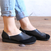Genuine Leather Color Match Soft Flat Slip On Loafers