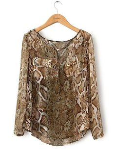 Leopard Lady Serpentine Long Sleeve V-neck Chiffon Women Blouse
