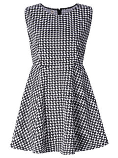OL Sleeveless A Line Houndstooth Women Mini Dress