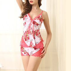Sexy Hollow Back Ultrathin Sleepwear Sets Floral Ice Silk Nightwear For Women