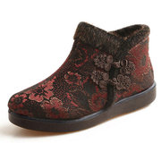 Big Size Flower Retro Chinese Knot Slip On Flat Ankle Warm Boots
