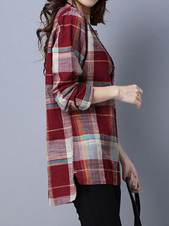 Casual Plaid O-Neck Long Sleeve High Low Blouse For Women