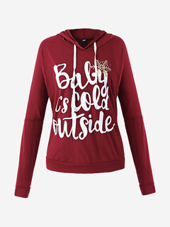 Christmas  Snow Letter Printed Hoodie Casual Women Long Sleeve Blouse