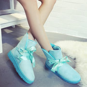 Candy Color Lace Up Butterfly Knot Flat Ankle Snow Boots
