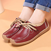 Leather Lace Up Leather Color Match Soft Casual Flat Loafers