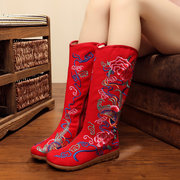 Colorful Embroidery Zipper Flower Mid Claf Vintage Boots For Women