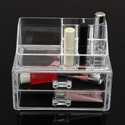 2 Drawers Clear Acrylic Cosmetic Storage Brush Jewelry Lipstick Holder