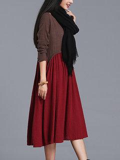 Contrast Color Patchwork Vintage Women Long Sleeve Dress