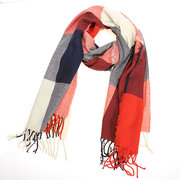 Oversize Wool Plaid Checks Scarf Shawl Wrap Tassels Warm Neckerchief Long Pashmina