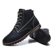 Stitching High Top Lace Up Pure Color Ankle Work Boots