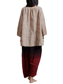 Women Pastoral Jacquard Embroidered Stand Collar Cotton Cardigan Blouse