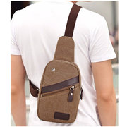 Men Canvas Sling Chest Bags Travel Hiking Crossbody Bags