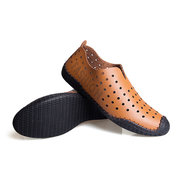 Toe Protecting Leather Hollow Out Breathable Slip On Casual Driving Shoes