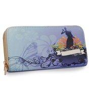 Women Leather Blue Print Long Wallet