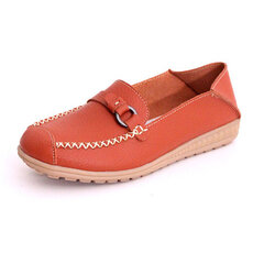Metal Slip On Round Toe Flat Loafers