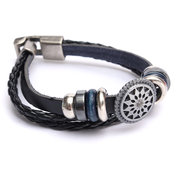 Engraved Flower Braided Multilayer Leather Bracelet
