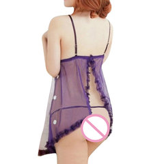 Women Sexy See Through Mesh Babydoll Hollow Out Temptation Nightdress