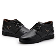 Men Leather Winter Keep Warm Cotton Lace Up Formal Boots