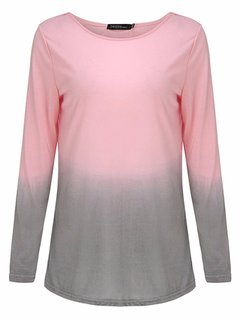 Casual Women O-Neck Long Sleeve Gradient Color Cotton T-shirt