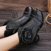Rose Flower Stitching Ankle Leaf Leather Vintage Round Heel Zipper Boots