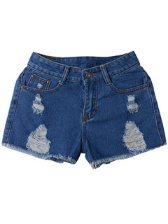 Street High Waist Ripped Hole Tassel Women Casual Denim Shorts