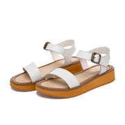 Leather European Style Peep Toe Buckle Flat Roman Sandals Gladiators