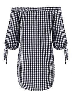 Women Sexy Off-shoulder Checked Pattern Three quarter sleeve Slash Neck Mini Dress