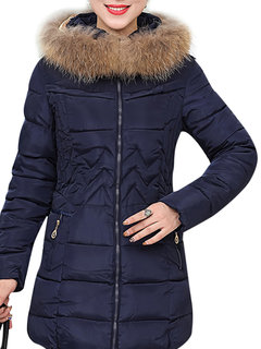 Winter Women Casual Brief Fur Collar Hooded Pure Color Zipper Thicken Coat