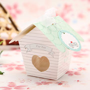 10pcs Mini House Candy Boxes With Clear Heart Wedding Favor Gift