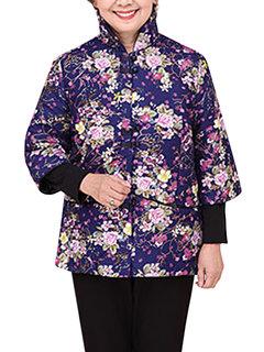 Китайский стиль цветок Кнопка Печатный пластина стенд воротник пальто для женщин