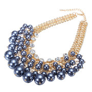 Crystal Multilayer Pearl Bead Collar Necklace