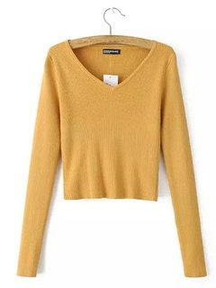 Women Casual Knitted Long Sleeve Solid Color V-neck Sweater