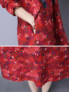Chinese Style Printed O-Neck Long Sleeve A-Line Dress For Women