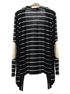 Women Casual Stripe Patchwork Long Sleeve Cardigan