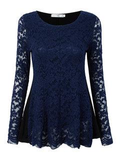 Long Sleeve Lace Hollow Slim Elegant Shirt