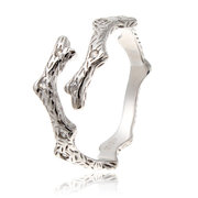 925 Sterling Silver Adjustable Crystal Branch Open Ring