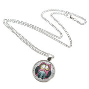 Owl Glass Cabochon Pendant Silver Chain Necklace